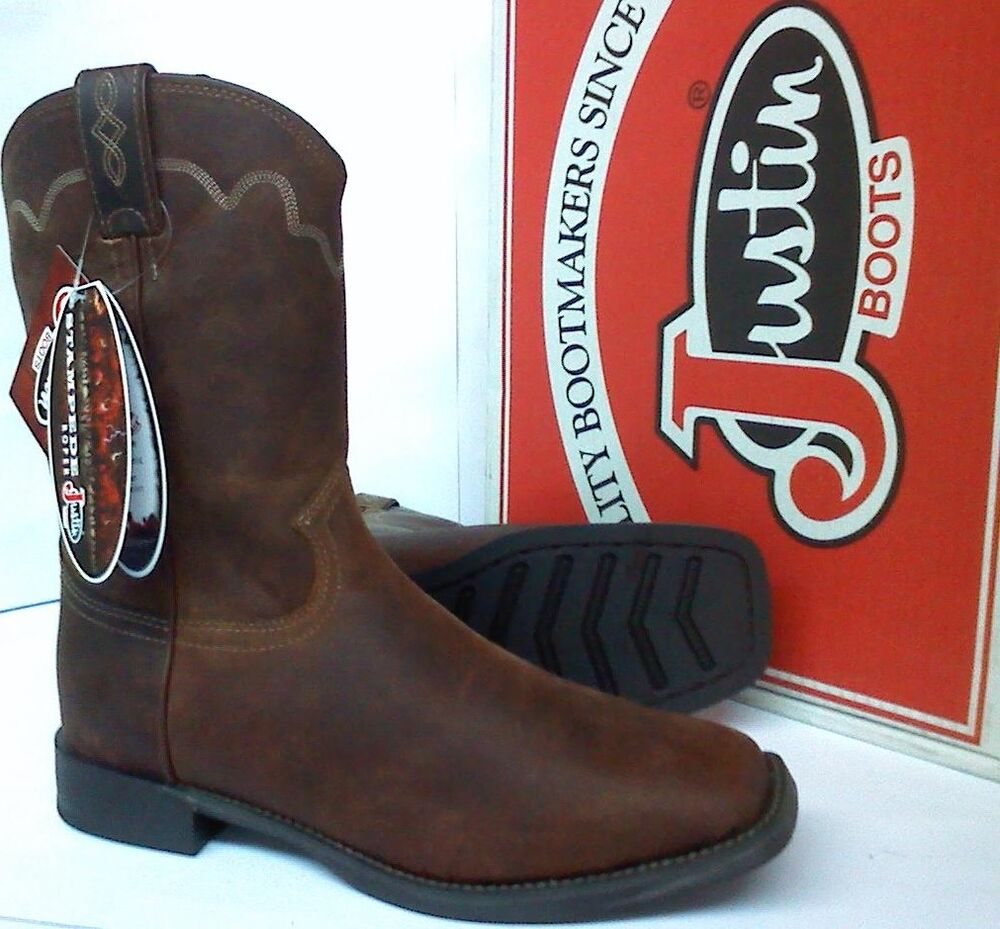 Justin Boots Stampede Square Toe Cowboy Work Boots 10
