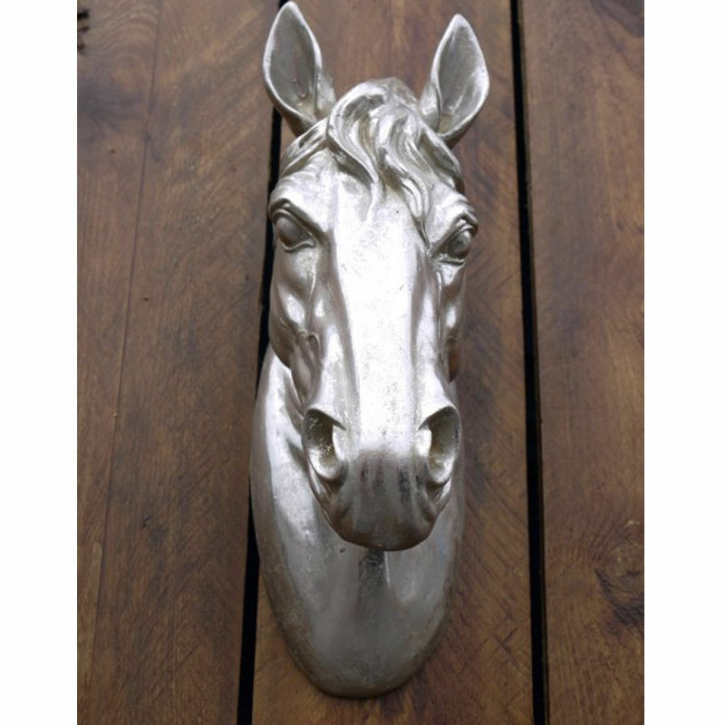 Wall mount silver resin pony horse head wall ornaments for Home ornaments
