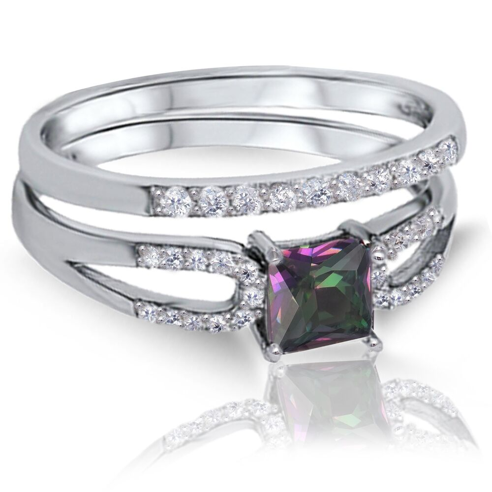 princess cut rainbow topaz engagement wedding