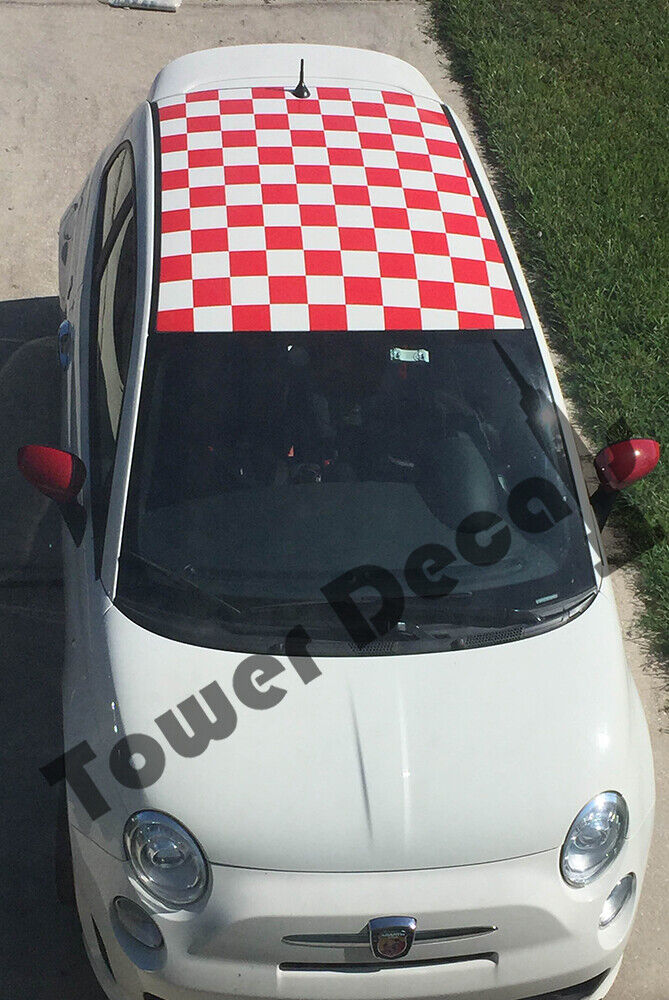 Checkered Roof Square Checkerboard Decals For Fiat Abarth