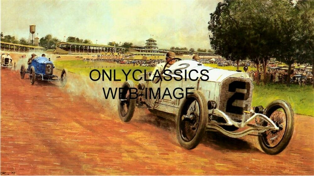 1915 indy 500 motor speedway poster ralph depalma auto for Indianapolis motor speedway clothing