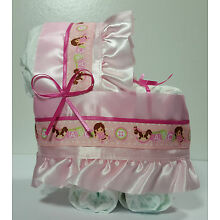 Diaper Cake Bassinet Carriage Baby Shower Gift for Girls - Pink ABCs with Dolls