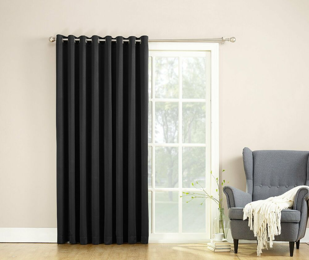 barrow extra wide room darkening patio curtain panel 100 by 84 inch black ebay. Black Bedroom Furniture Sets. Home Design Ideas