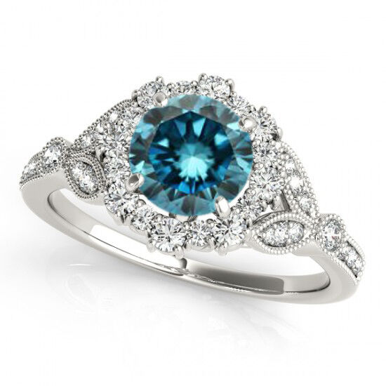 1 Carat Blue Diamond Solitaire Engagement Ring Stylish 14k White Gold Best De