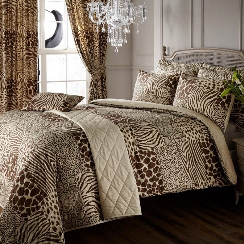 8pc Safari Animal Print Super King Duvet Cover Curtains