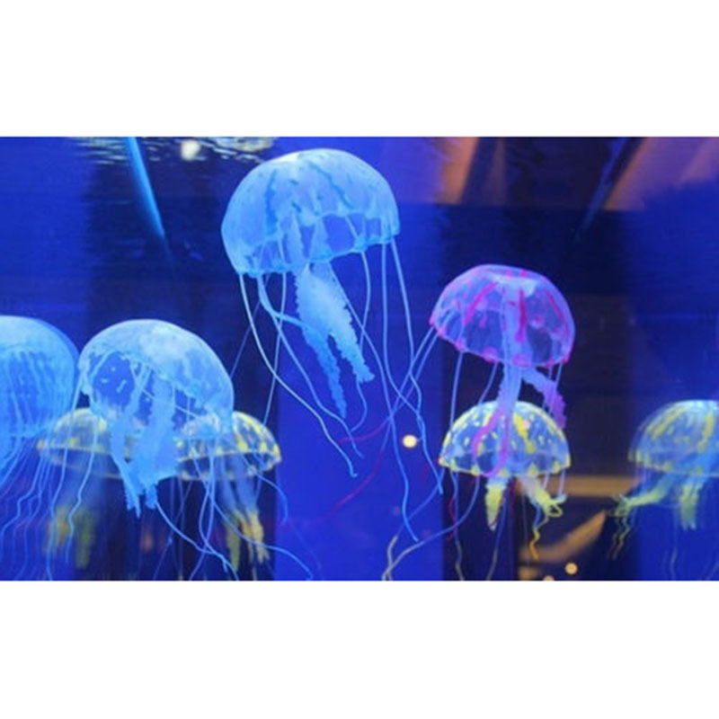 6 colors nice glowing effect artificial jellyfish fish for Aquarium jellyfish decoration