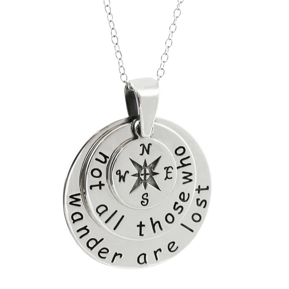 Compass Necklace 925 Sterling Silver Not All Who
