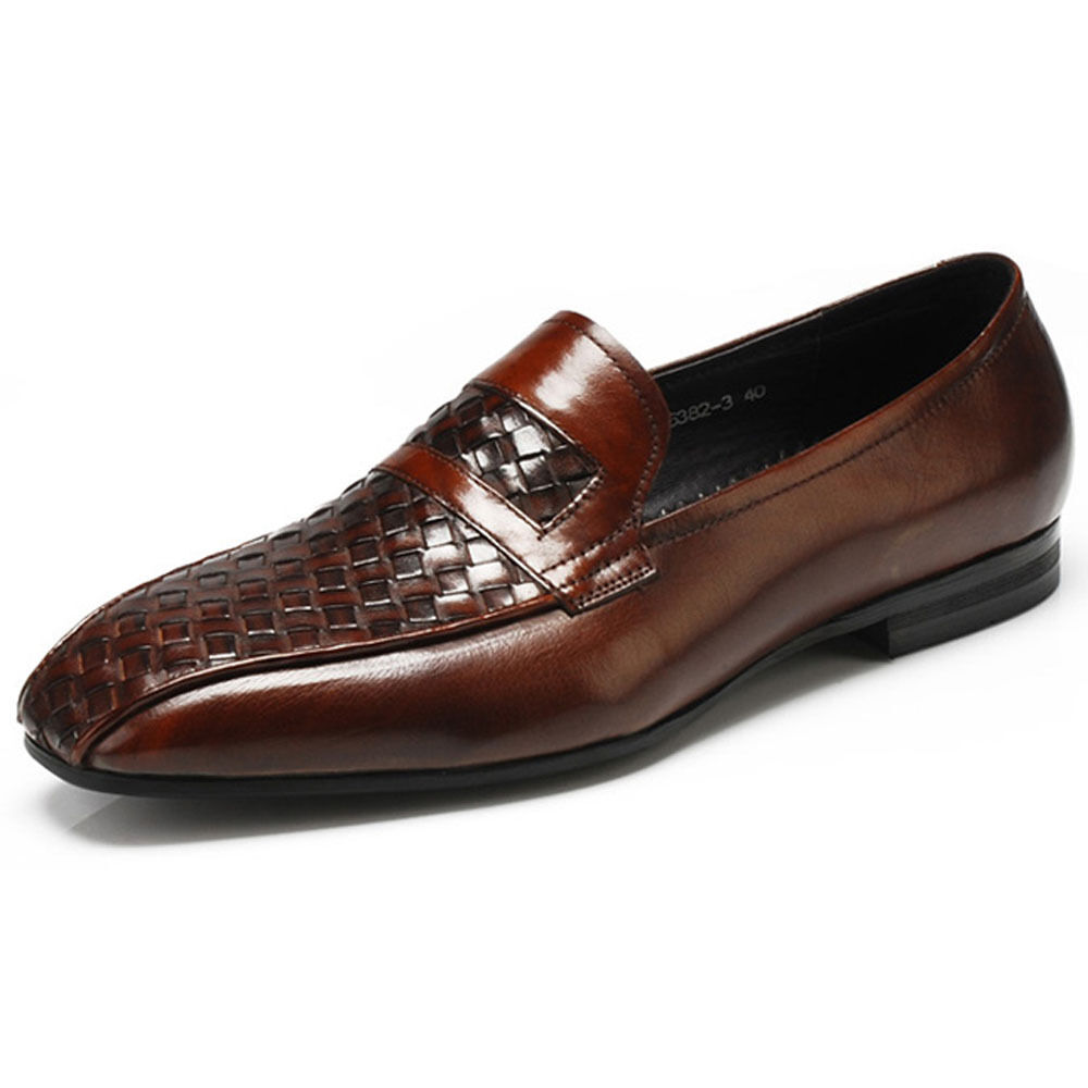 woven genuine leather mens slip on business loafer formal