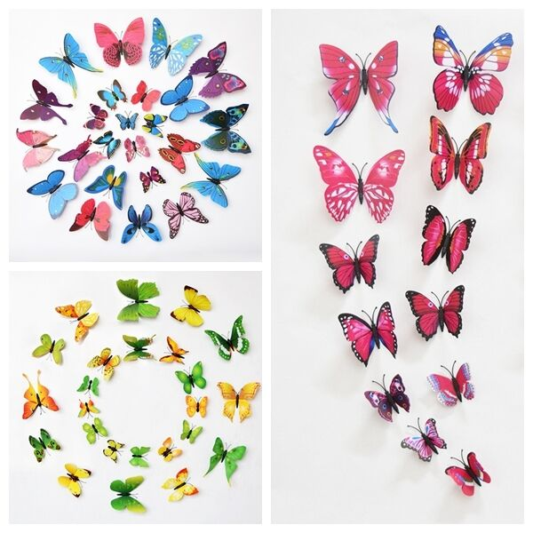 Hot 3d butterfly art decal home decor 6 colours pvc for 3d wall butterfly decoration