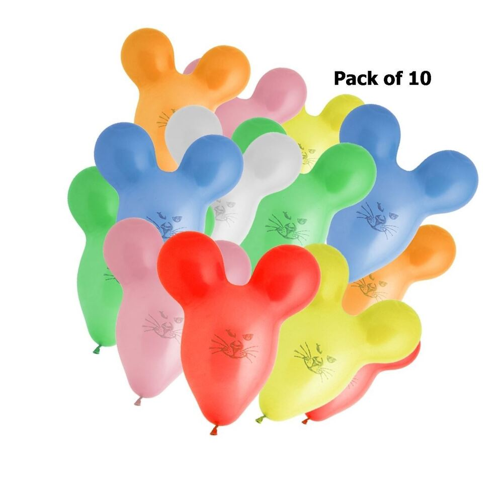 10 Mouse Shape Balloons Assorted Colour Party Kids Face