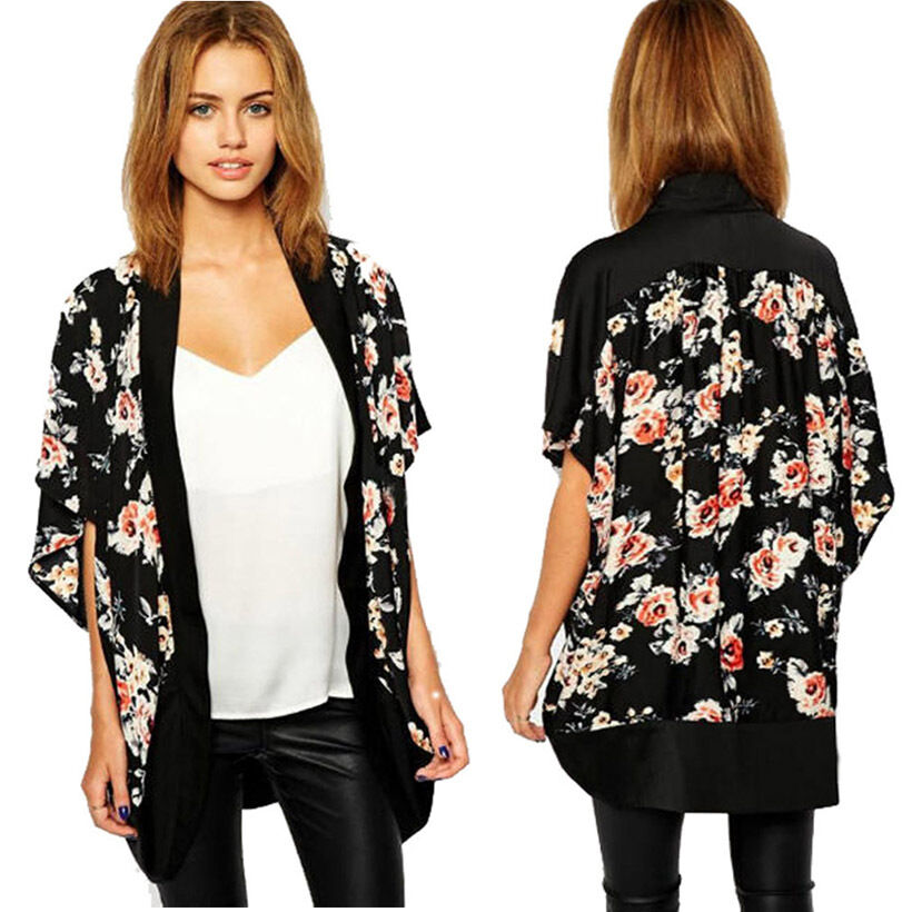women floral chiffon kimono shawl cardigan japanese elegant summer cover up tops ebay. Black Bedroom Furniture Sets. Home Design Ideas