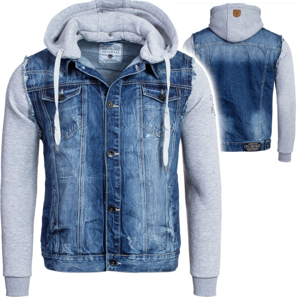 cipo baxx herren jeansjacke sweatshirt biker denim mix hoodie kapuze c 1294 ebay. Black Bedroom Furniture Sets. Home Design Ideas