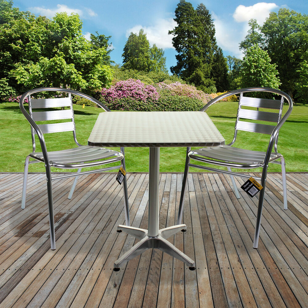 Aluminium lightweight chrome bistro sets square table for Patio table chair sets