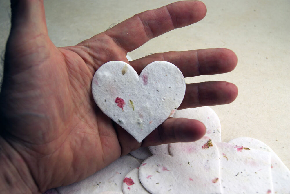 large pink heart shape flower seed larkspur paper wedding