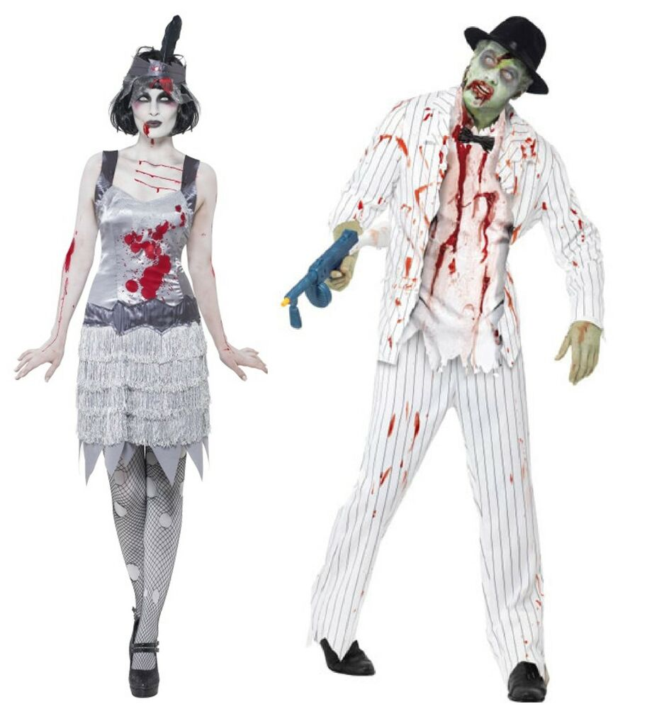 paar kost m zombie geist gangster flapper halloween verkleidung outfit ebay. Black Bedroom Furniture Sets. Home Design Ideas