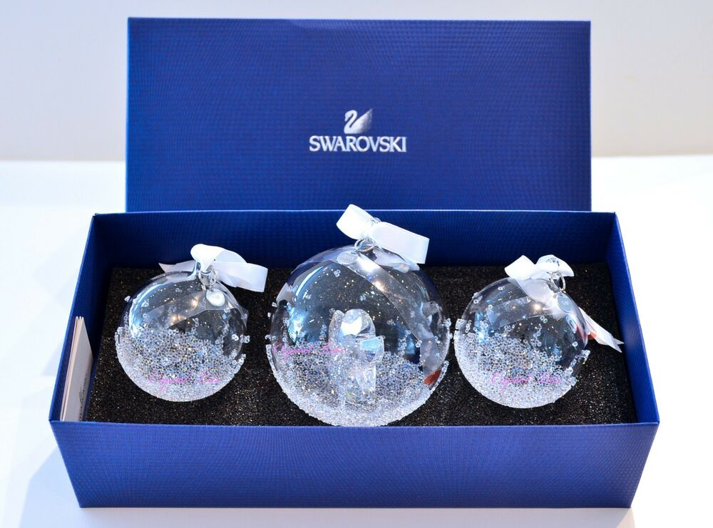 swarovski 2015 ae christmas ball ornament set of 3 brand