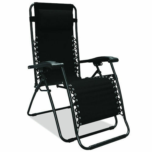 Black Zero Gravity Chair Outdoor Recliner Lawn Patio Pool Camping Deck Beach