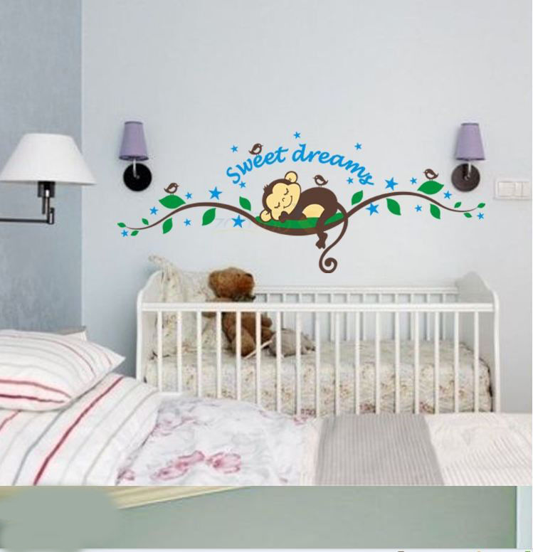 cheeky monkey sweet dream removable wall stickers decal kid nursery