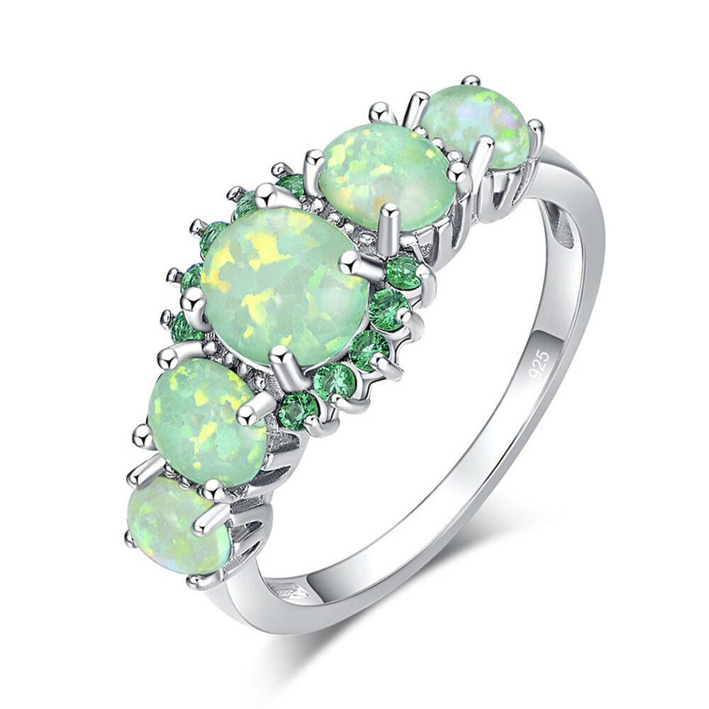 green fire opal emerald women jewelry gems silver ring. Black Bedroom Furniture Sets. Home Design Ideas