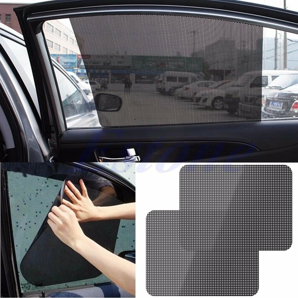 2pcs Car Rear Window Side Sun Shade Cover Block Static