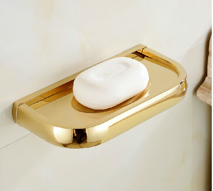 Luxury golden finish solid brass bathroom soap dish holder wall mount soap plate ebay for Wall mounted soap dishes for bathrooms