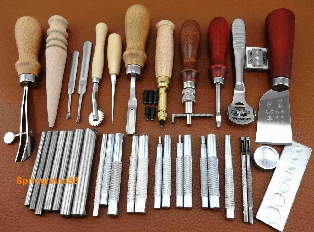 35pcs leather craft sewing tool set kit stitching groover