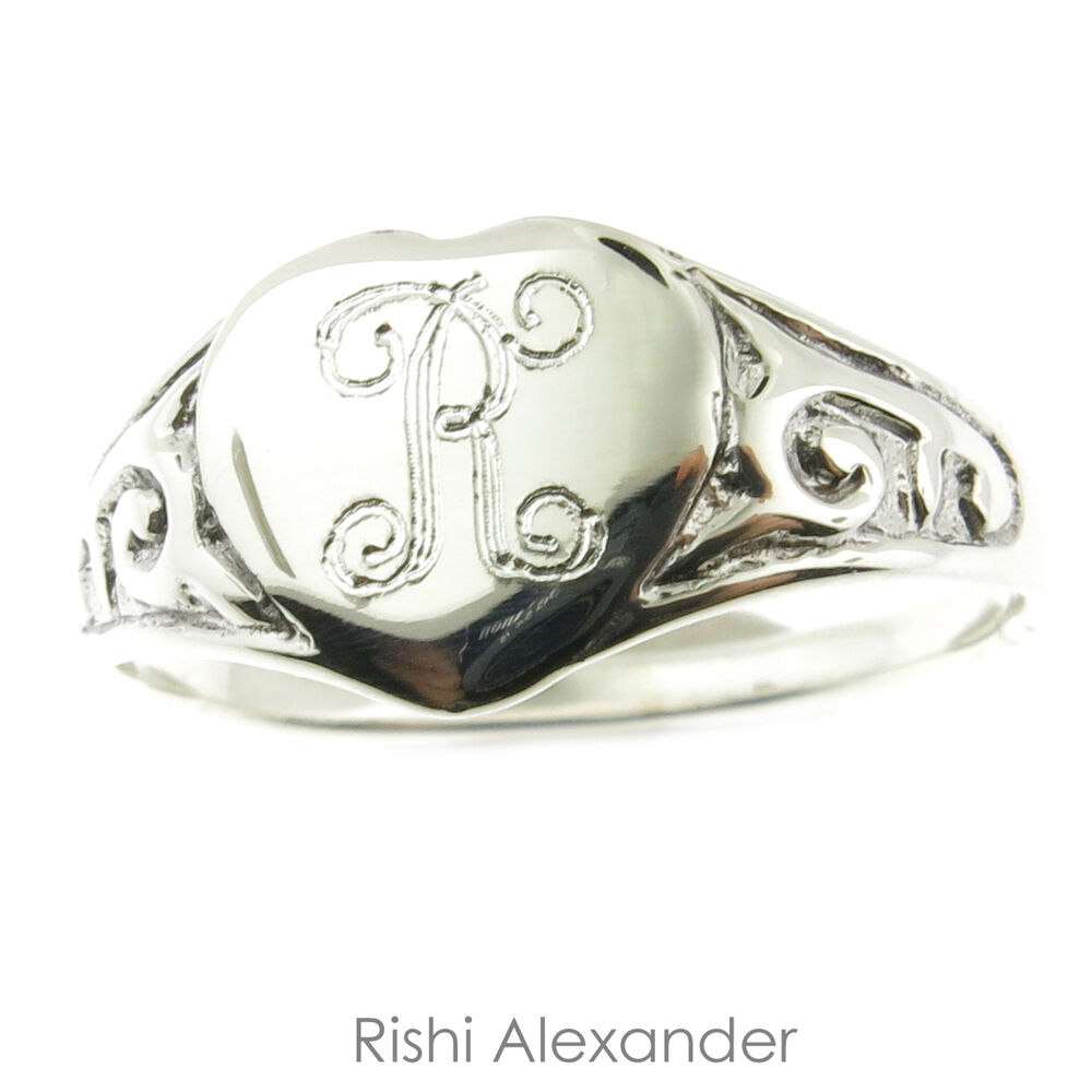 925 Sterling Silver Heart Monogram Ring Baby Or Child