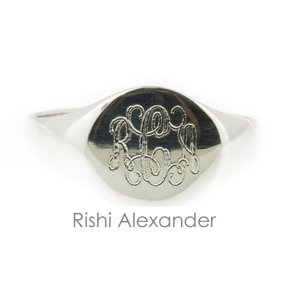 925 Sterling Silver Signet Monogram Ring Baby Or Child