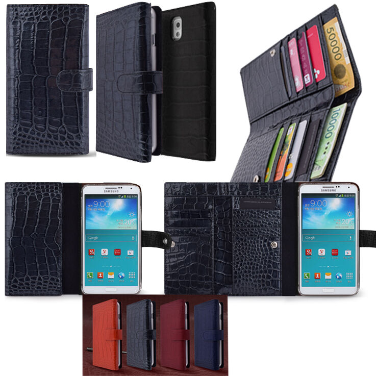 Genuine Leather Cell Phone Double Wallet Case For Galaxy S 7 6 Edge 5 ...