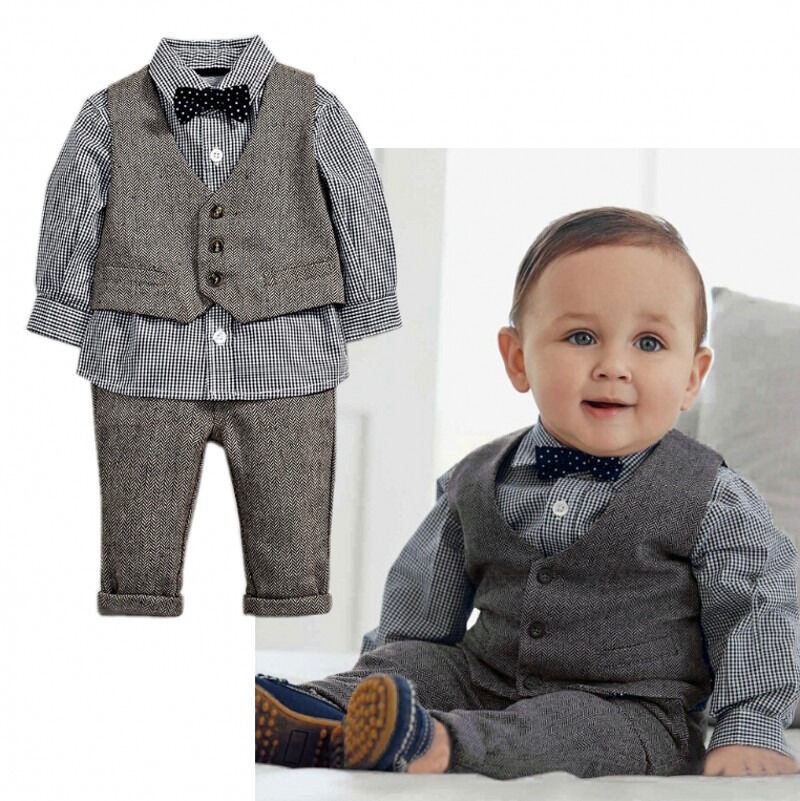 Toddler Baby Boys Formal Tuxedo Suit Plaid Shirt Waistcoat