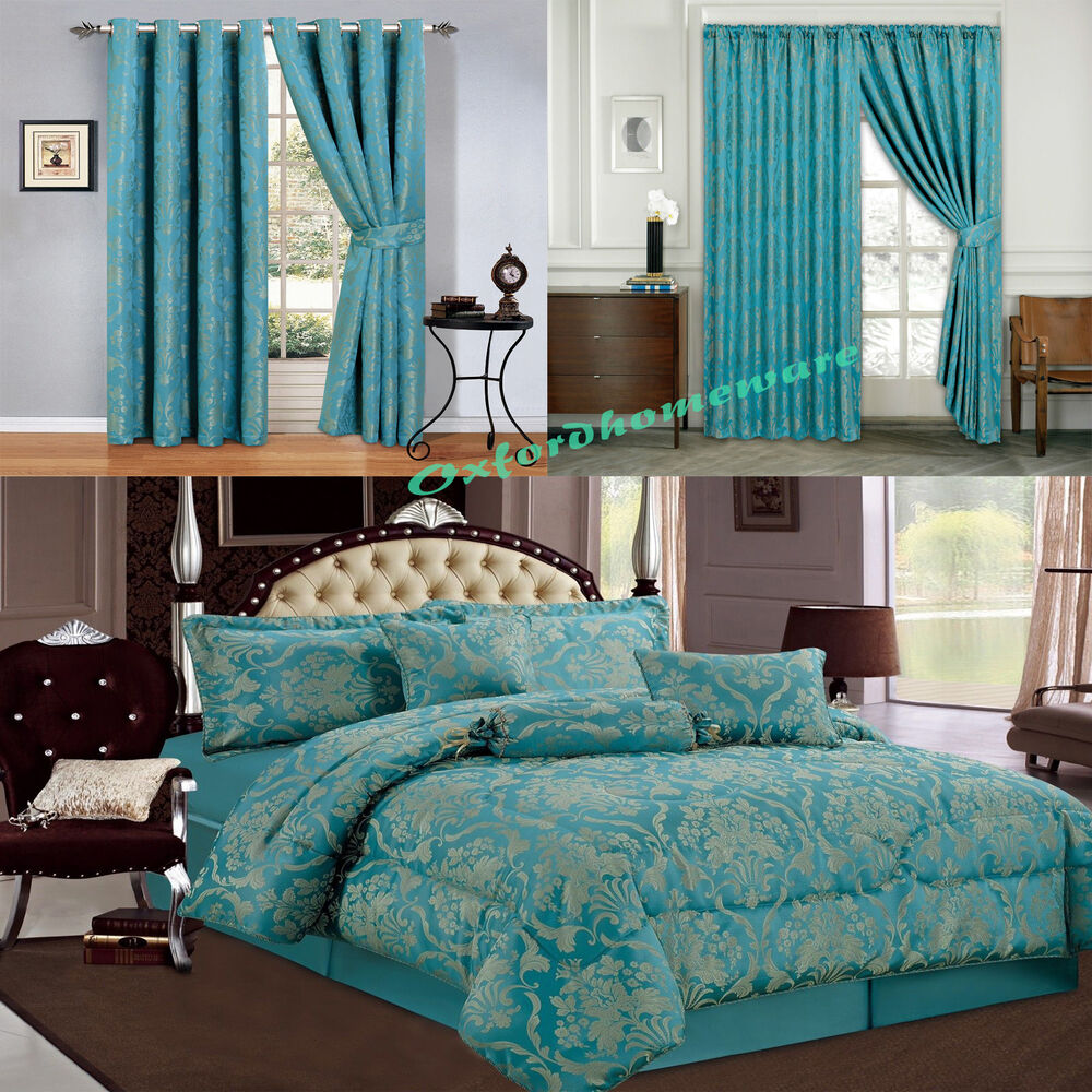 Jacquard Luxury 7 Piece Teal Comforter Set Bedspread With