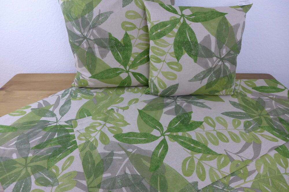 sander kissen kissenh lle 40 x 40 cm 50 x 50 cm bedruckt green leaves natur gr n ebay. Black Bedroom Furniture Sets. Home Design Ideas