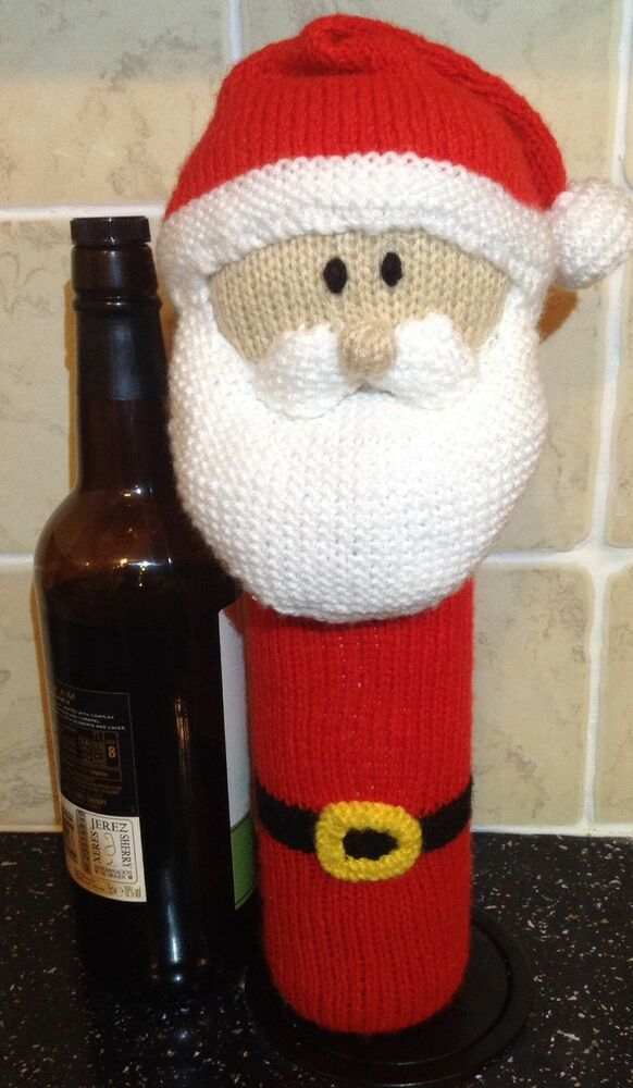 Father Christmas Santa Wine Bottle Cover Novelty knitting pattern eBay