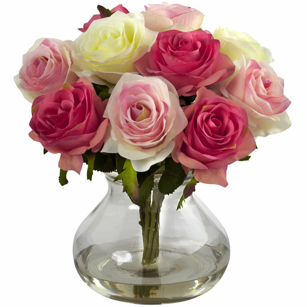 11 artificial silk pastel floral rose flower bouquet for Flower arrangements with roses