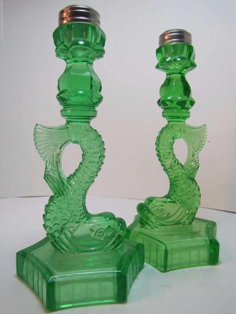 Old pair green depression glass dauphin koi fish lamp base for Depression glass floor lamp