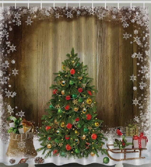 Curtains Ideas christmas curtain fabric : Christmas Tree Presents Rustic Wood Fabric SHOWER CURTAIN Gifts ...