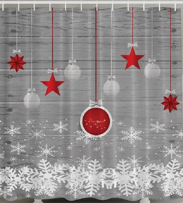 Ornaments christmas fabric shower curtain red grey white for White bathroom ornaments