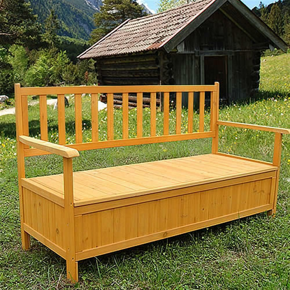 Wooden Outdoor Chest Bench Garden Patio Furniture Storage Box Seater