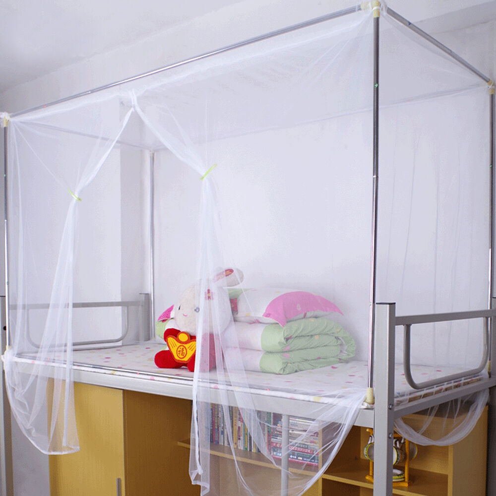 hot white four corner post canopy bed mosquito net twin queen king size netting ebay. Black Bedroom Furniture Sets. Home Design Ideas