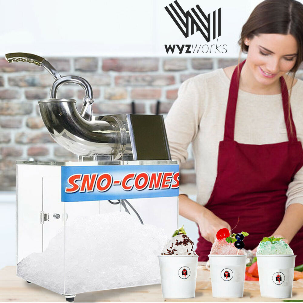 Stainless Steel Snow Cone Machine : Clear box ice shaver machine sno cone hawaiian shaved
