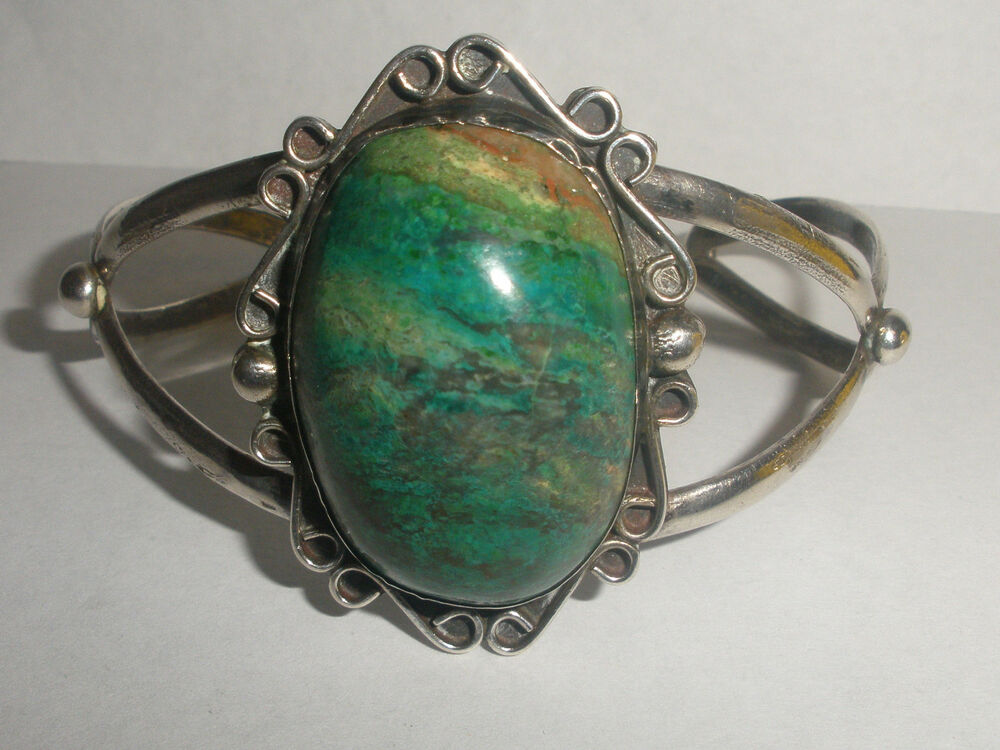 Vintage Mexican Mexico Sterling Silver large turquoise ...