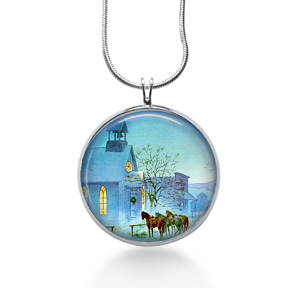 church pendant necklace christmas pendant winter jewelry