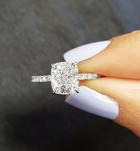 2.05 Ct Cushion Cut Diamond Solitaire with Accents Engagement Ring F,VS2  18K | eBay