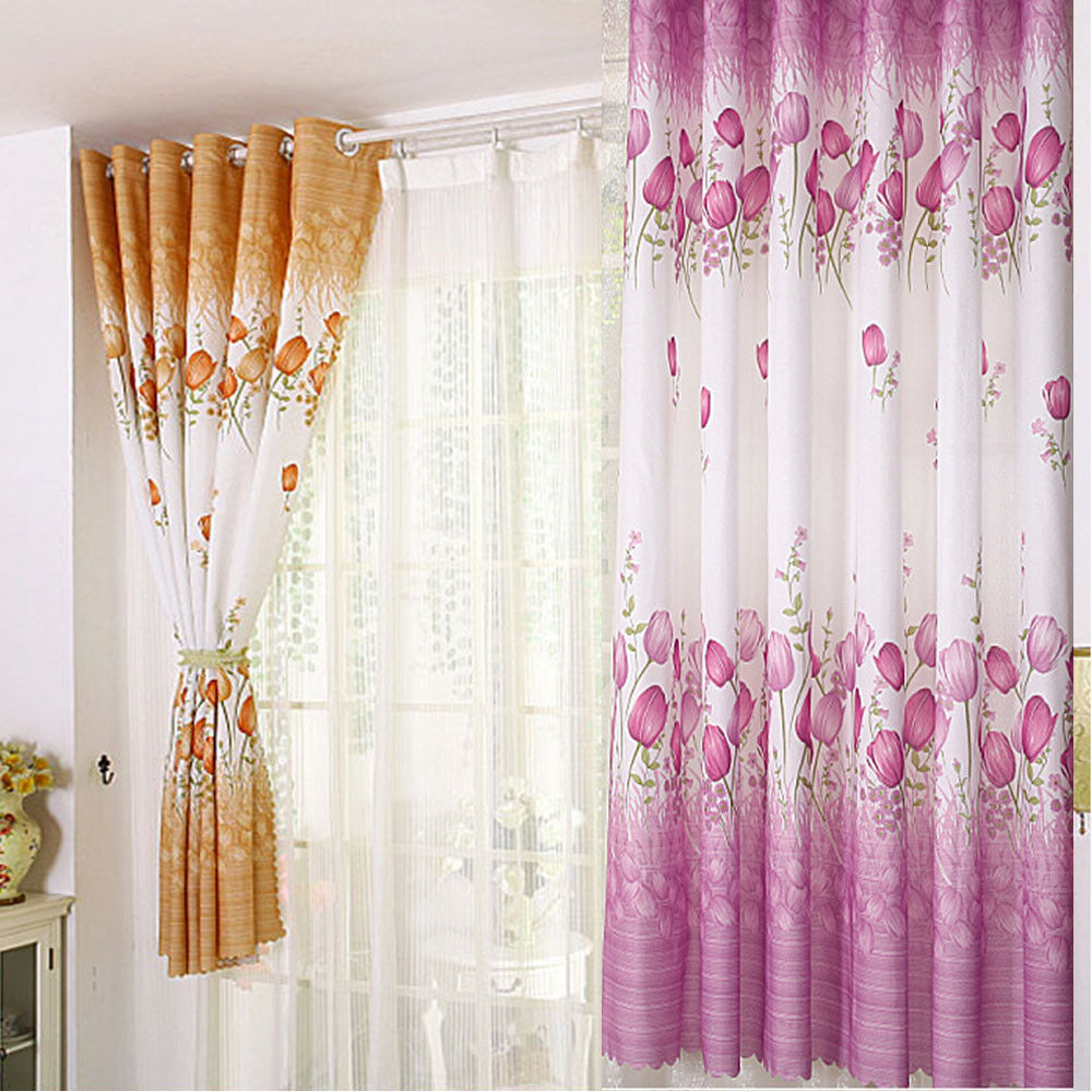 Curtain For Balcony: Tulip Flower Calico For Living Room Window Curtain Balcony