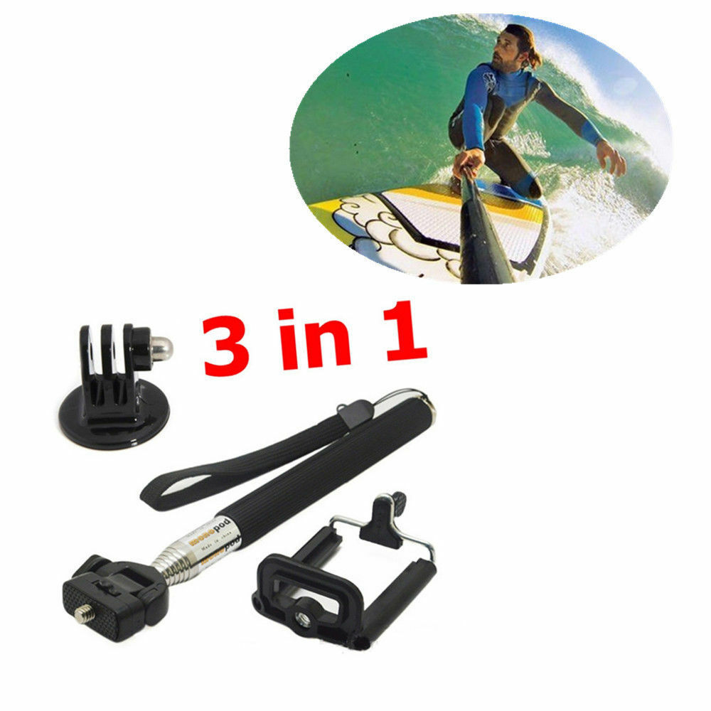 for gopro helmet camera extension selfie stick monopod tripod mount accessory ebay. Black Bedroom Furniture Sets. Home Design Ideas