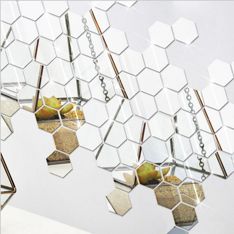 12PCS 3D Hexagonal Acrylic Mirror Wall Decals Decor Vinyl ...