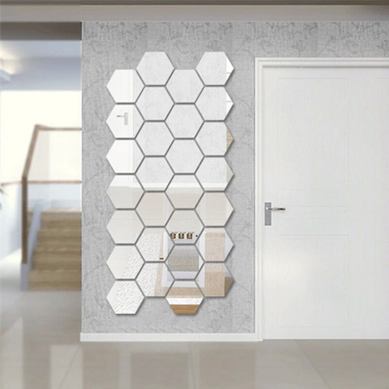 2015 hexagon mirror silver removable decal vinyl art wall