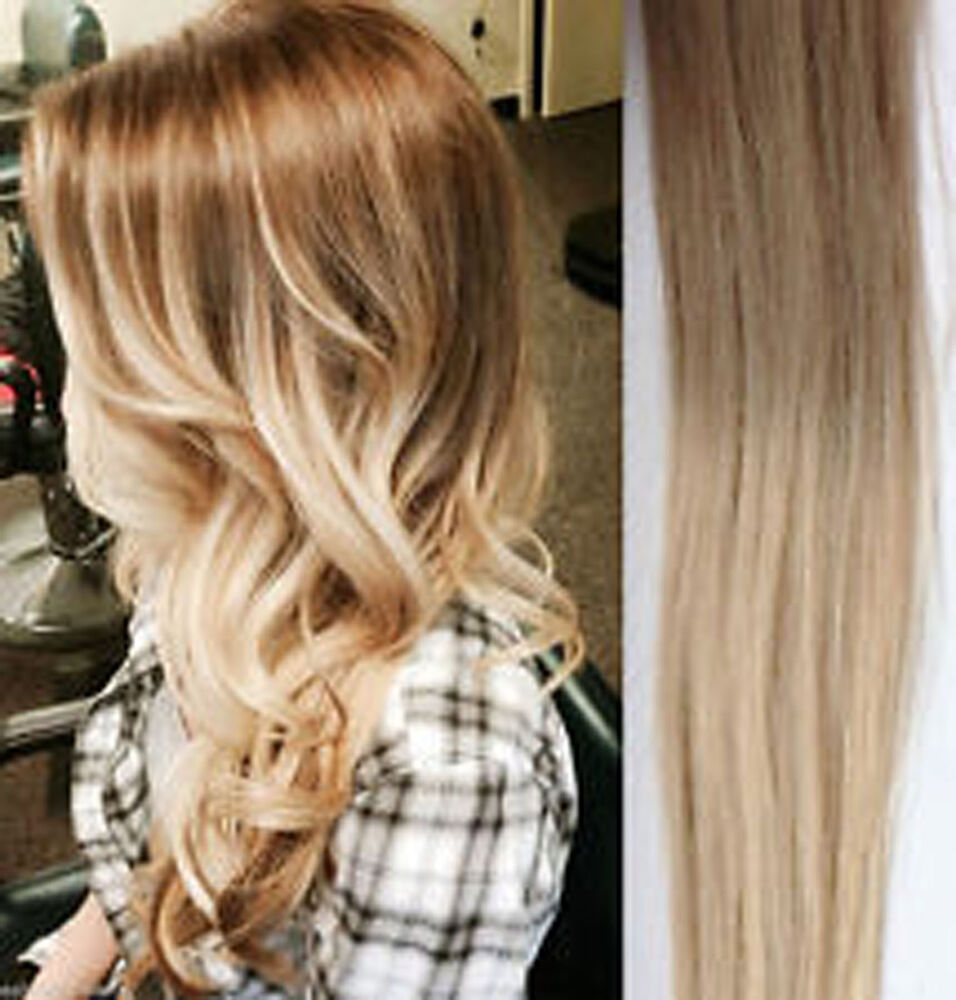 All Colour 18 Quot Clip In Ombre Dip Dye Human Hair Extensions