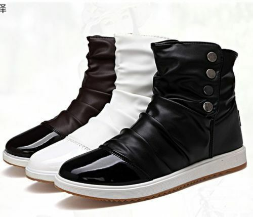 Fashion korean style men 39 s lace up flats high top casual shoes ankle boots ebay Korean fashion style shoes
