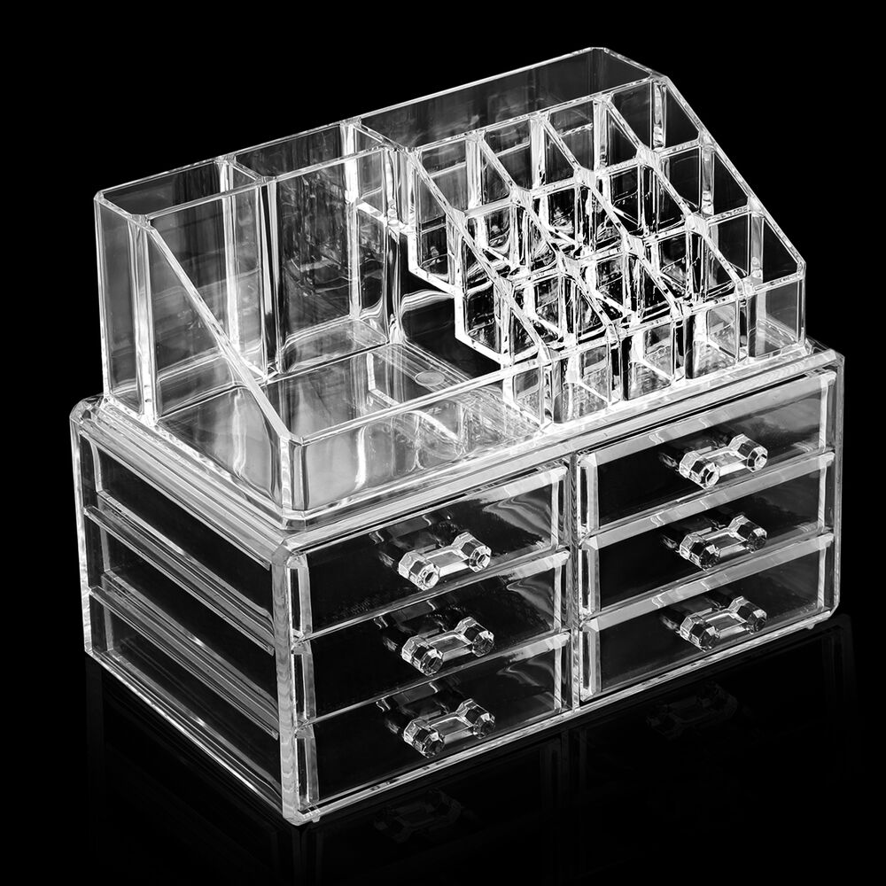 Acrylic box drawers makeup : Cosmetic organizer clear acrylic makeup drawer holder case